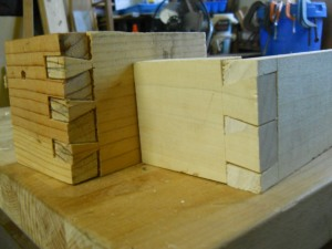 First ever dovetail next to the a more recent attempt. Wonky and gappy, and where'd the middle pin get to?
